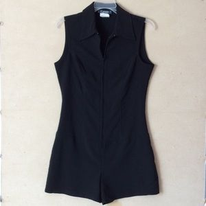 stretchy collared sleeveless zip up romper